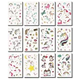WATINC 24 Sheets Unicorn Temporary Tattoos for Boys and Girls, 12 Patterns Sheet, 82 Unicorn Designs, for Unicorn Party Supplies Girls Party Favors and Birthday Gift