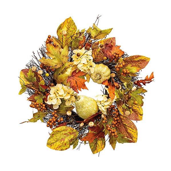 ELEGANI Fall Theme Party Thanksgiving Party Supplies, Gourds & White Flowers Wreath