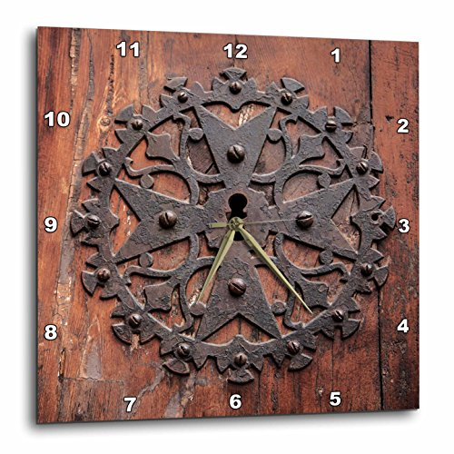 3dRose Danita Delimont - Doors - Spain, Balearic Islands, Mallorca, Arta. Decorative Key hole - 13x13 Wall Clock (dpp_277914_2) by 3dRose