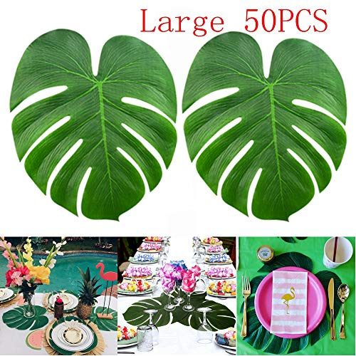 """KUUQA 50 Pcs Large 13"""" Tropical Leaves Artificial Simulation Tropical Palm Monstera Plant Leaves for Hawaiian Luau Safari Party Jungle Beach Theme BBQ Birthday Party Decorations Supplies"""