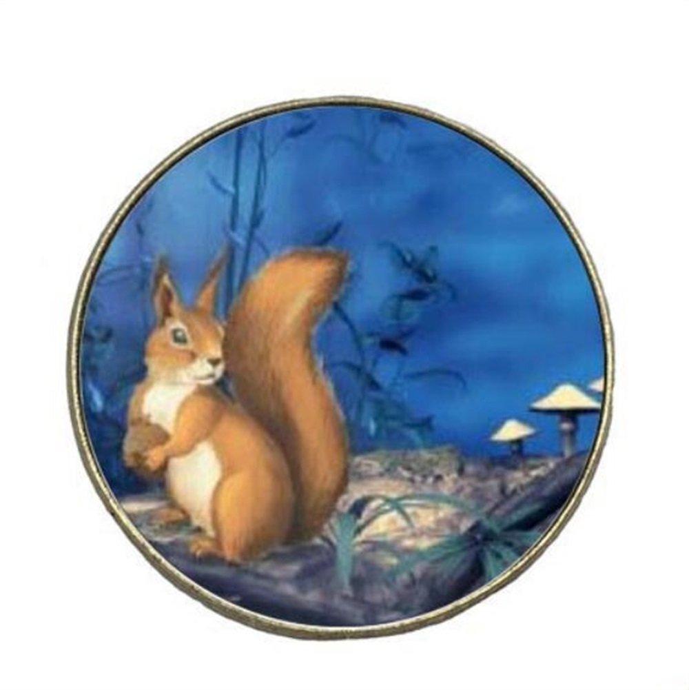 Redyiger Distintivo Piccolo ed Elegante Distintivo Rotondo Distintivo del Distintivo del Brooch della Lega dello Scoiattolo Sveglio del Fumetto