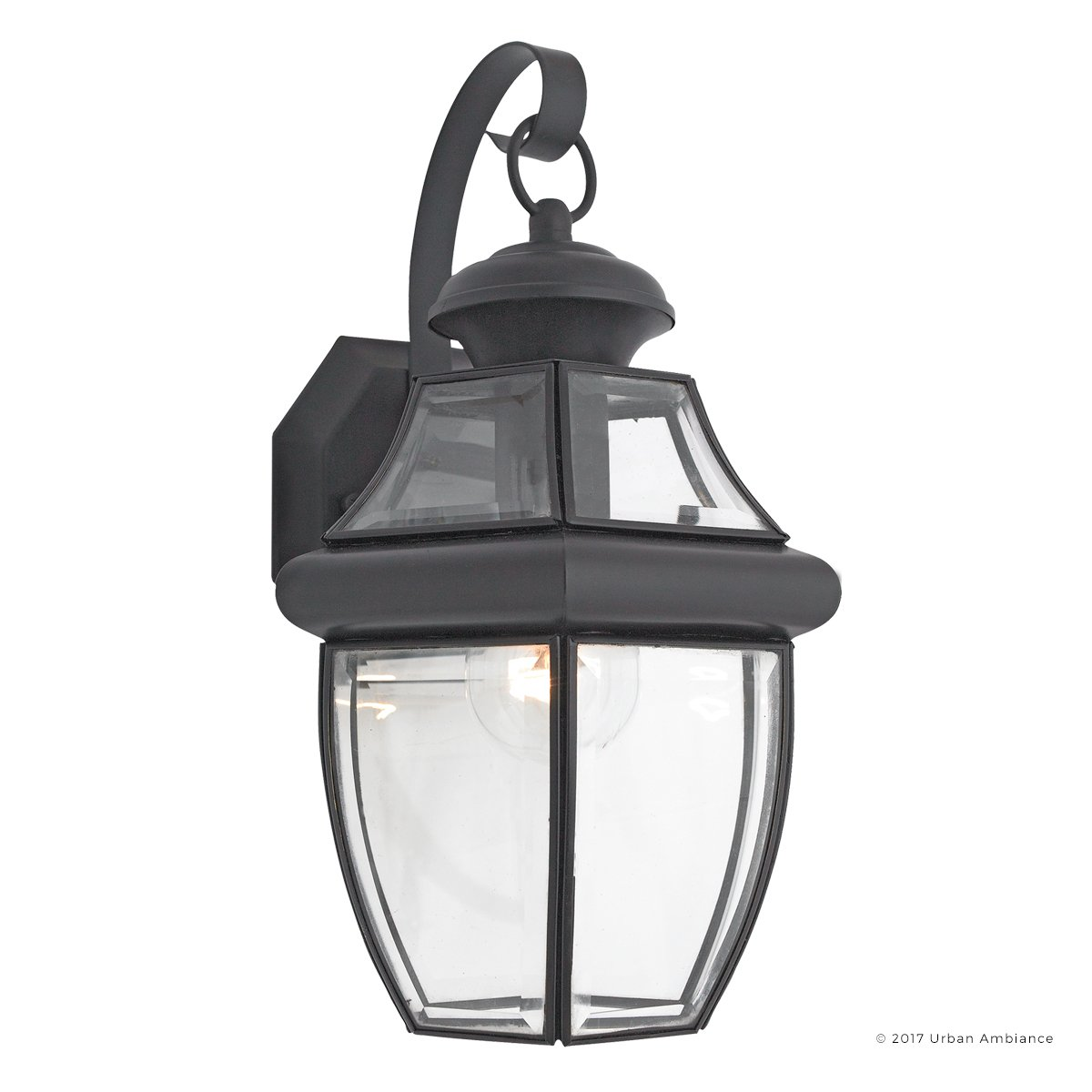 Luxury Colonial Outdoor Wall Light, Medium Size: 14''H x 8''W, with Tudor Style Elements, Versatile Design, High-End Black Silk Finish and Beveled Glass, UQL1142 by Urban Ambiance