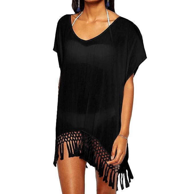 7a4f0eaa2a716 KYEYGWO Swimsuit Bikini Cover Ups for Woman, Loose Tassels Black Color Wrap Up  Beach Dress: Amazon.co.uk: Clothing