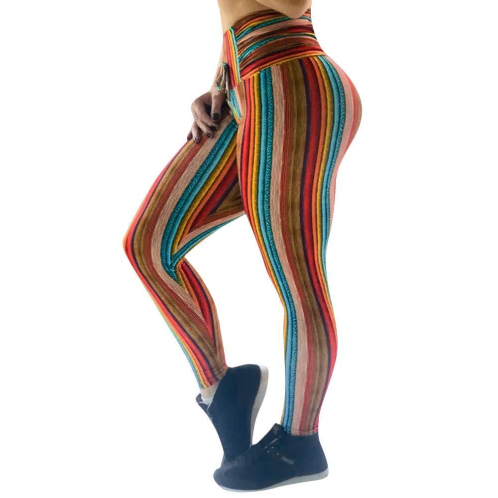 d2483cbc77a8e0 Amazon.com: Yoga Training Tights Sports Pants, Women Rainbow Stripes Print  Leggings, High Waist Workout Pant Yoga: Clothing