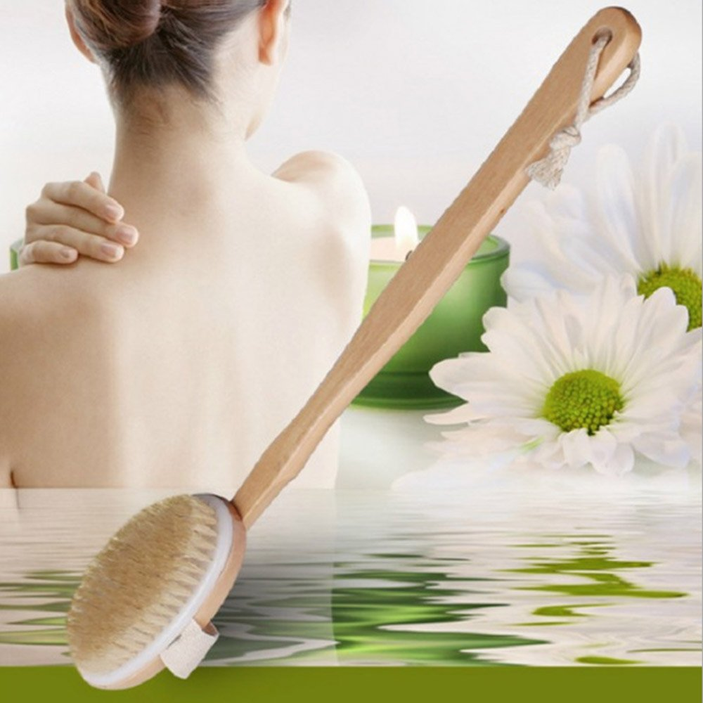16 Inch Dry Skin Body Brush,Natural Bristle Back Brush Scrubber with Detachable Handle,Removes Dead Skin & Toxins, Helps Cellulite, Lymphatic Functions, Blood Circulation & Exfoliation
