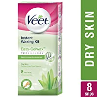 Veet Full Body Waxing Kit with Easy-Gelwax Technology for Dry Skin - 8 Strips