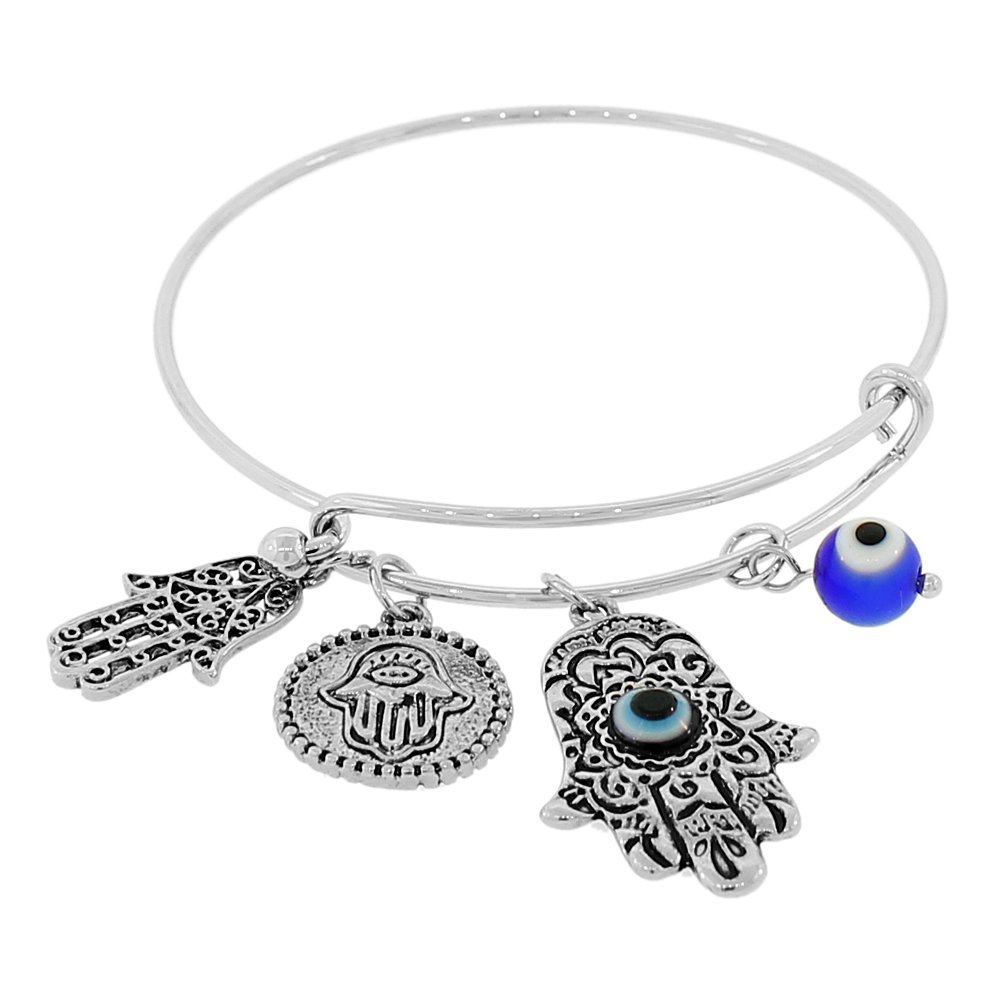 My Daily Styles Fashion Alloy Silver-Tone Red Hamsa Evil Eye Adjustable Bangle Bracelet
