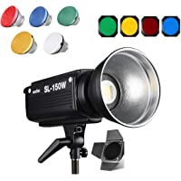 Godox SL-150W 5500K Bowens Mount Daylight Balanced LED Continuous Video Light Features CRI93+ TLCI95+ with Wireless Remote Controller, Barndoor, Color Filter and Pergear Cleaning Kit