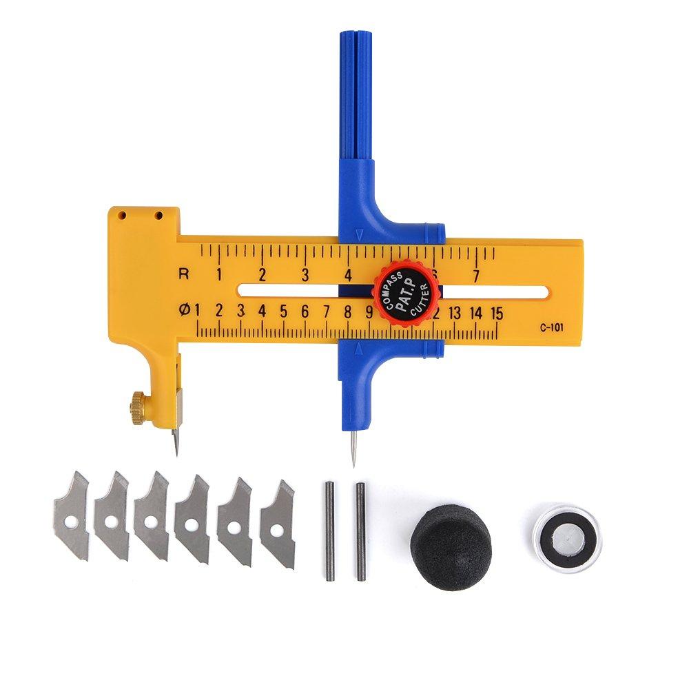 ATPWONZ Fresa rotante (diametro regolabile) Cutter cerchi cerchio 1-15cm