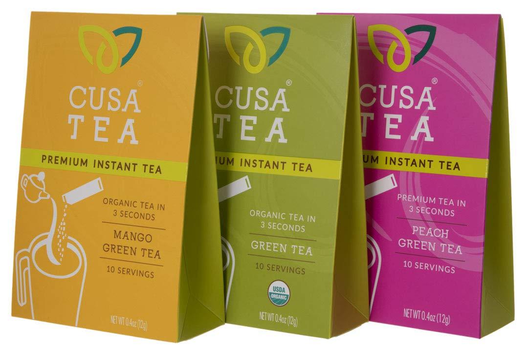 Variety Pack of Cusa Tea Premium Organic Instant Tea - Cold Brew Tea - USDA Organic Certified Tea - Zero Sugar, Preservatives or Flavorings (Green Tea Bundle)