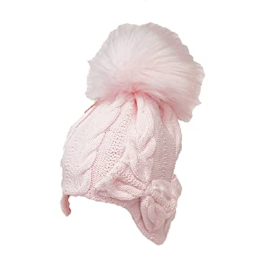 d371609e50d Baby Pink Girls Cable Knit Bow Pom Pom Bobble Hat - Fully Lined (6 ...