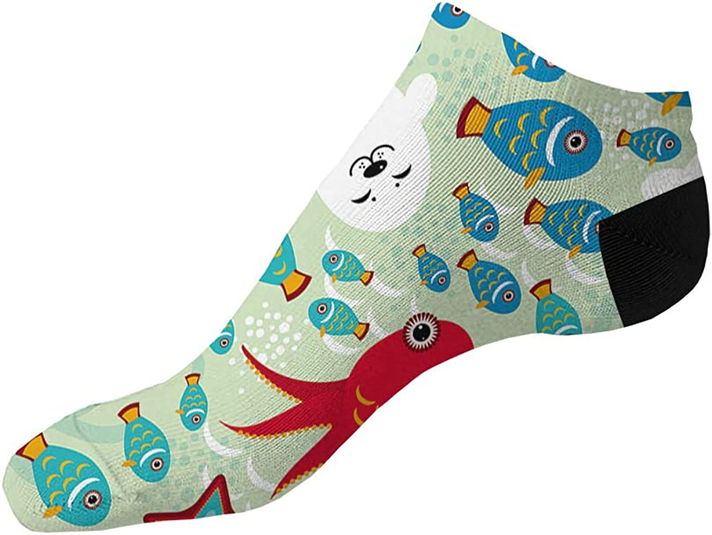 Funny Red Octopus With Blue Fish Pattern Men-Women Adult Ankle Socks