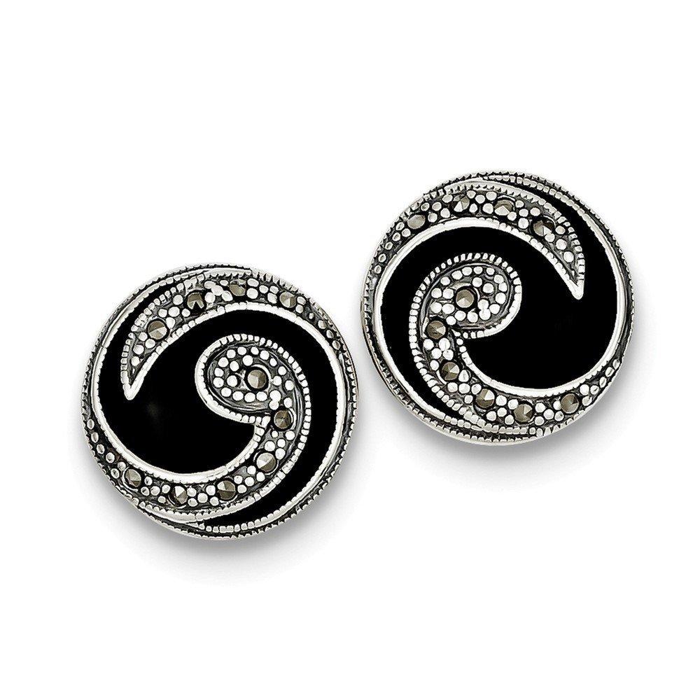 0.71 in x 0.67 in Sterling Silver Onyx /& Marcasite Post Earrings