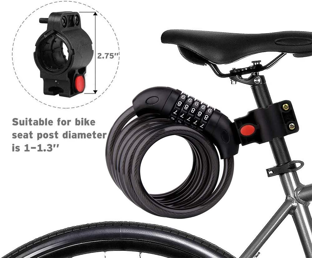 Electric Bicycles 4ft 5-Digit Resettable Combination Anti Theft Bicycle Lock,Cable Password Lock Combination With Bracket For Bicycles Home Glass Doors Best Bicycles Gift Motorcycles Bike Lock