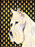 Caroline's Treasures SS4323CHF Scottish Terrier Wheaten Candy Corn Halloween Portrait Canvas House Flag, Large, Multicolor