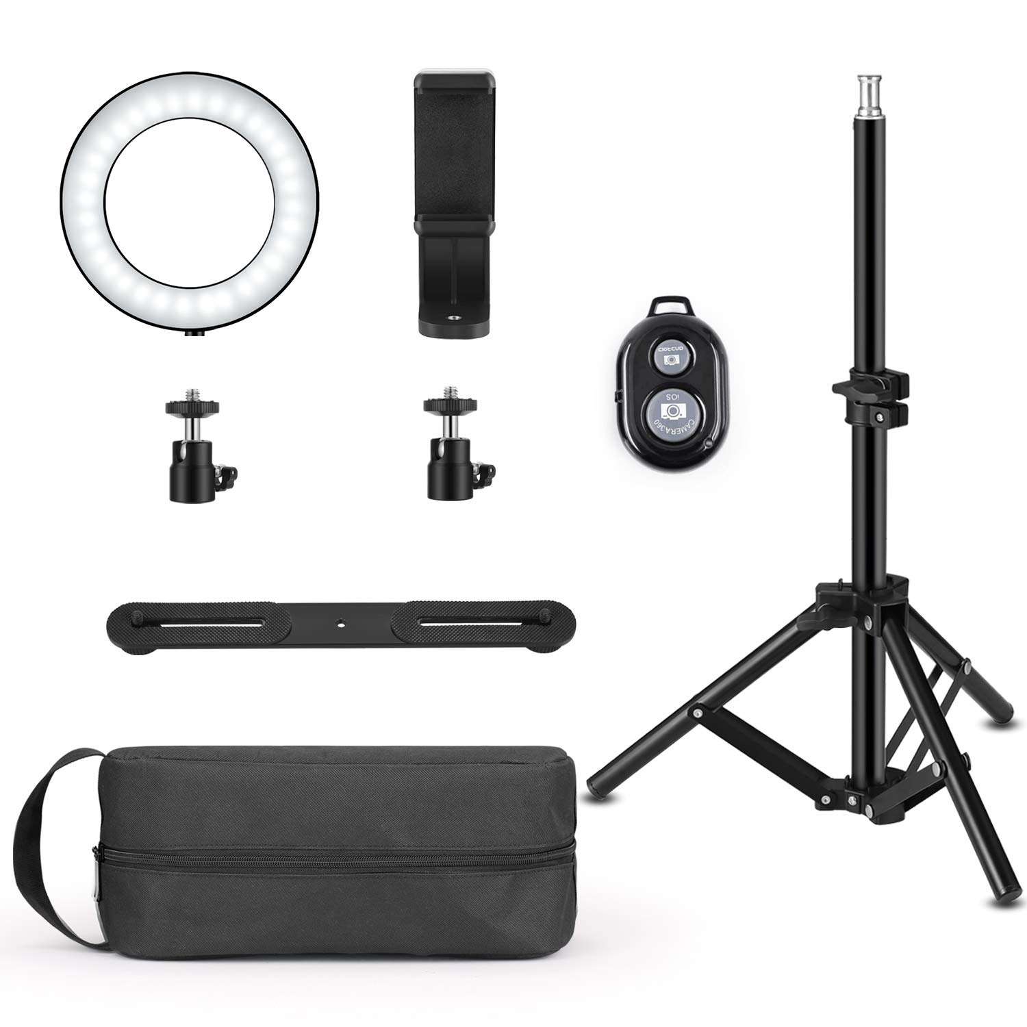 Ring Light with Stand, Foxin Selfie Ring Light with Tripod Stand & Cell Phone Holder Stand for Live Stream/Makeup, Mini LED Camera Light Desktop LED Lamp with 3 Light Modes & 11 Brightness Level by FOXIN (Image #5)