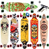 [Maronad.GCP]® Longboard Skateboard drop through Race Cruiser ABEC-11 Skateboard 104x24cm Streetsurfer skaten FUN (Modell Cruiser - Aruba mit LED Leuchtrollen + T-Tool)
