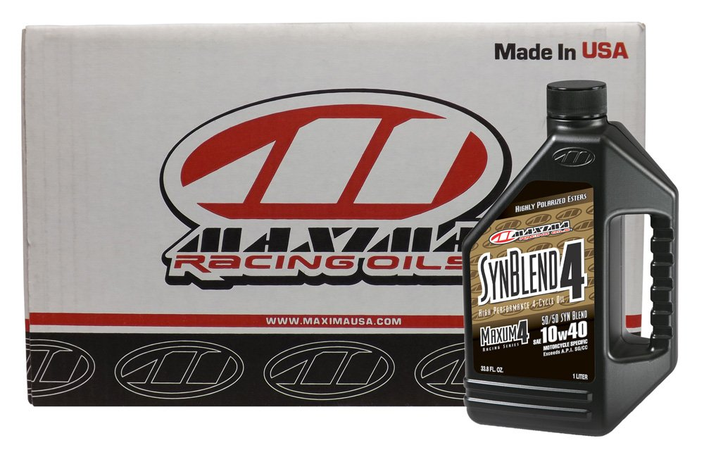 Maxima CS34901B-12PK SynBlend4 10W-40 Motorcycle Engine Oil - 1 Liter Bottle, (Case of 12) by Maxima