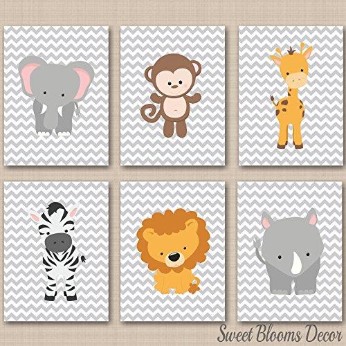 (Safari Nursery Wall Art Jungle Animals Zoo Animals Baby Room Decor Gray Chevron Jungle Animals Elephant Lion Monkey Hippo Giraffe Zebra Wall Art UNFRAMED 6 (NOT CANVAS) C262)