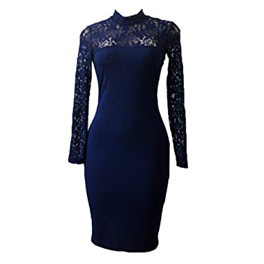 919cee8f0a Kootk Women Bodycon Dress Party Dress High Neck Long Sleeve Midi Dress Slim  Fit Lace Lined