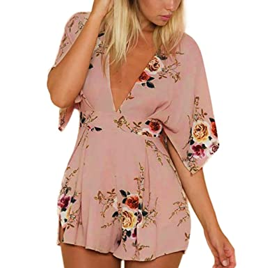 6204d3fce60b Amazon.com  Women Jumpsuits Short Sleeve V-Neck Open Back Floral Print  Rompers Shorts Playsuit for Teen Girls  Clothing
