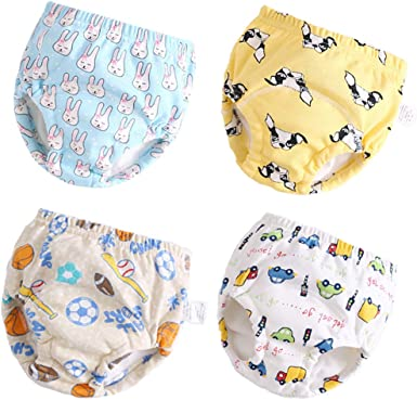 Toddler Training Underwear for Girls 12M,2T,3T,4T,Baby Girls Potty Training Pants Cotton 4 Pack Blue, 12M-2T