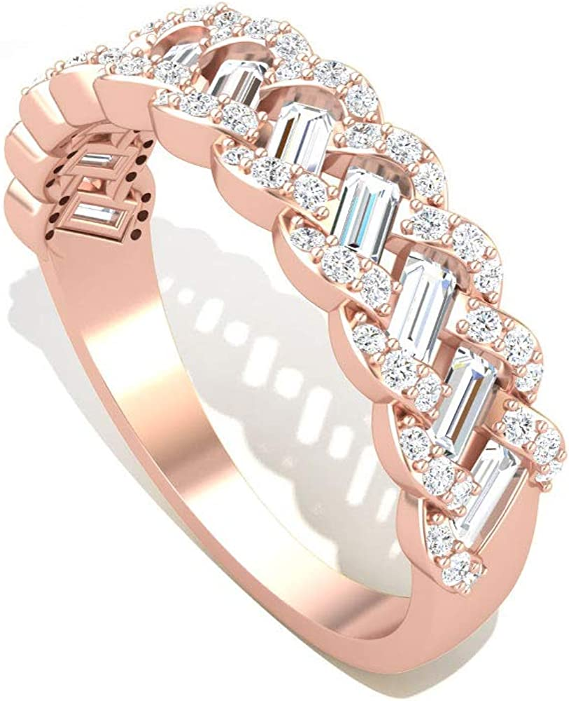0.85 Carat Baguette Round Certified Diamond Anniversary Ring, 14k Gold Braided Wedding Bridal Promise Ring Set, Women Birthday Matching Ring Gift Idea, 14K Gold