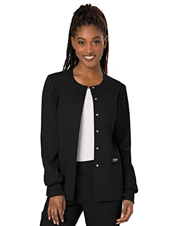 edcae4a5a29 Amazon.com: Cherokee Women's Snap Front Warm-up Jacket: Clothing