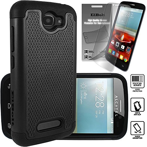 Alcatel One Touch Fierce 2 and Alcatel Pop Icon Cyber Defender Case - Black by ElBolt ® with Free HD Screen Protector