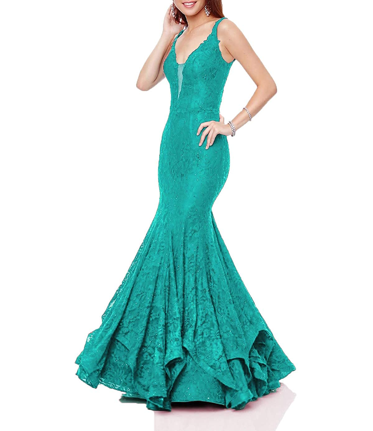 Darkturquoise Wanshaqin Women's Mermaid Prom Formal Dresses Lace Trumpet Evening Cocktail Dresses Bridesmaid Gowns