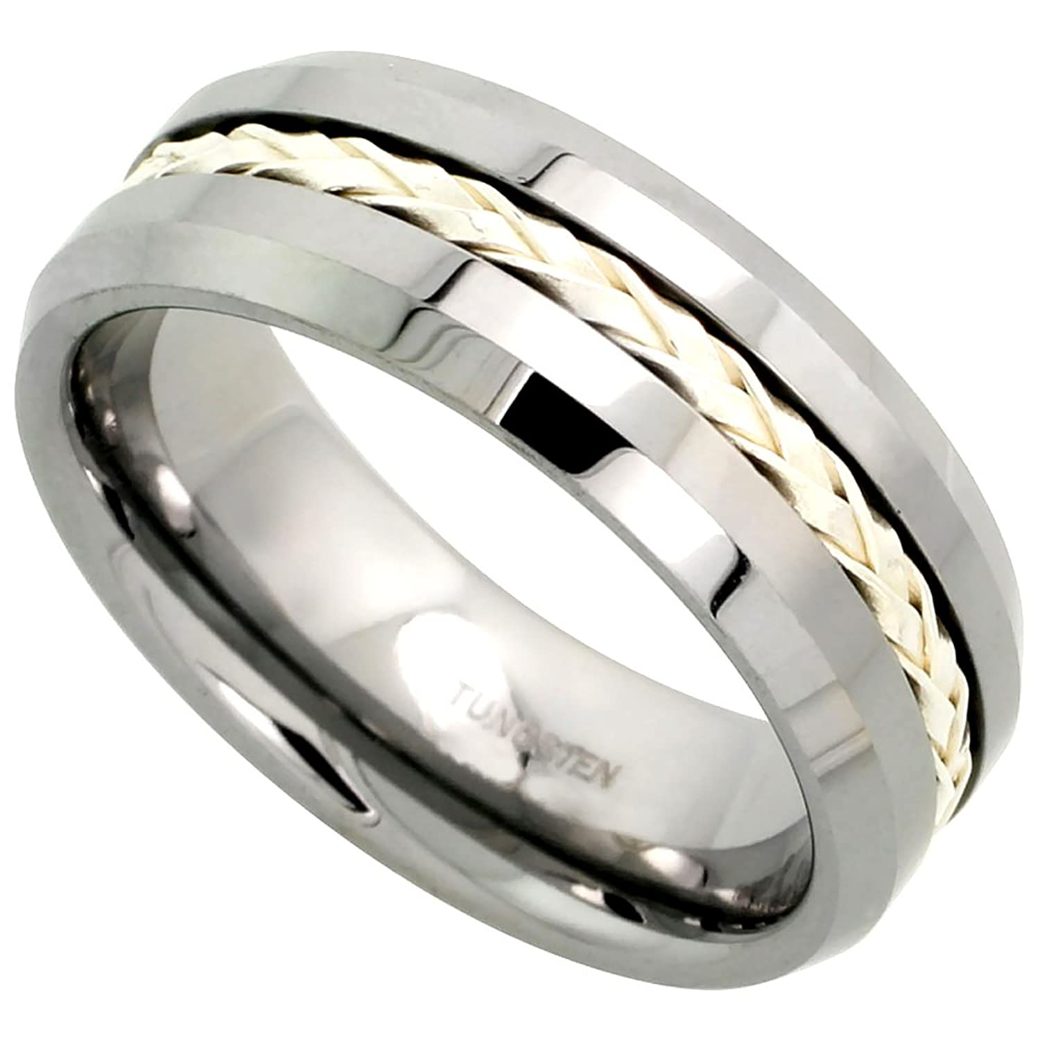 8mm Tungsten 900 TM Wedding Ring Sterling Silver Rope Inlay