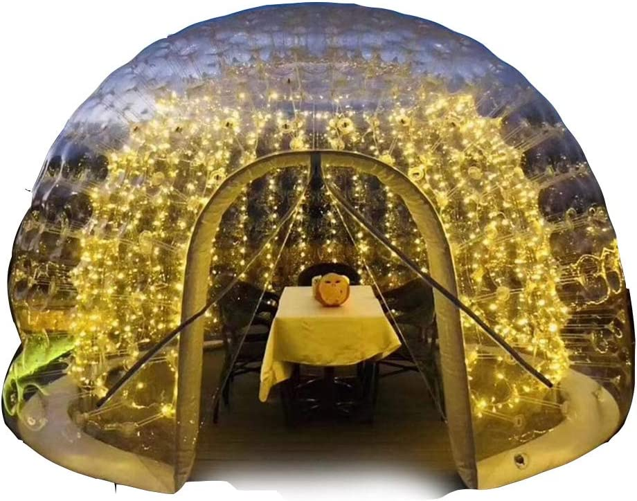 JASSXIN Panorama Lounge Tent Transparent Tent,Double Layer Spherical Garden Igloo 360 Dome, Outdoor Luxurious Semitransparent Scenic Holiday Home Garden Outdoor Camping,13Ft