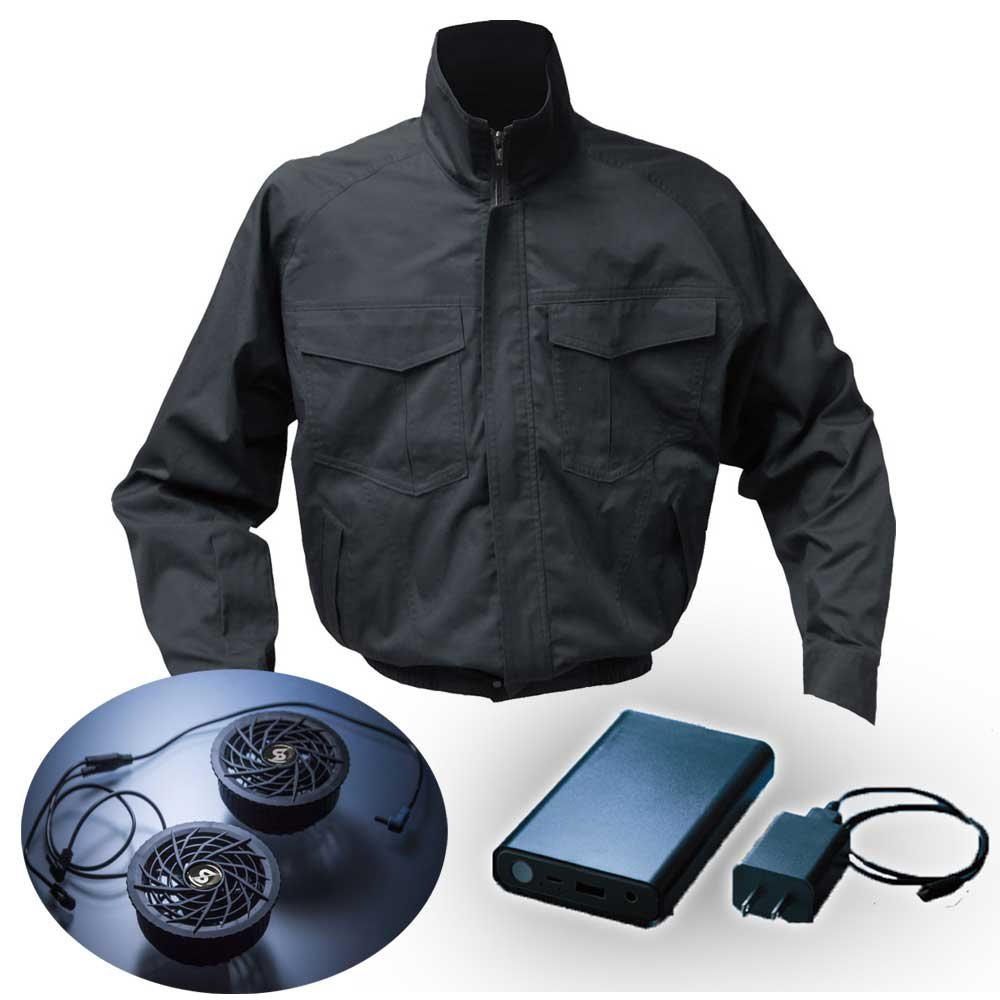 空調服 シンメン S-AIR ブルゾンファンバッテリーセット 88100 B07D65L5BZ 3L|26スミクロ 26スミクロ 3L