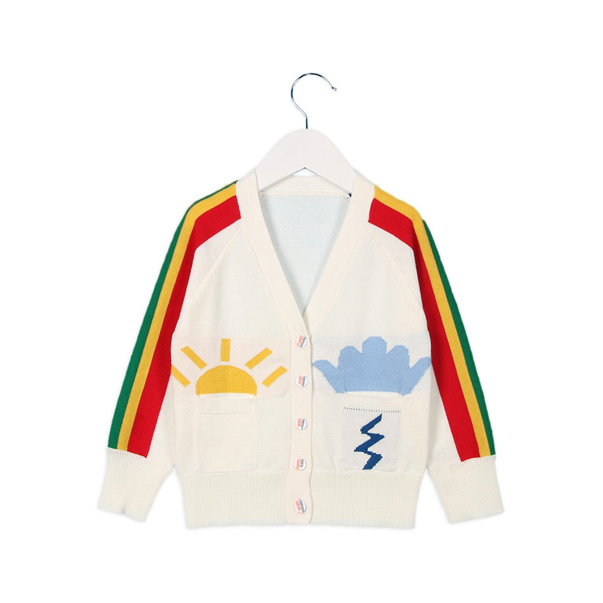 Lemonkid Newly Spring Fall Cotton Rainbow Knit Cardigan Rush Guard Smock Sweater 110cm/fit 3-4 T