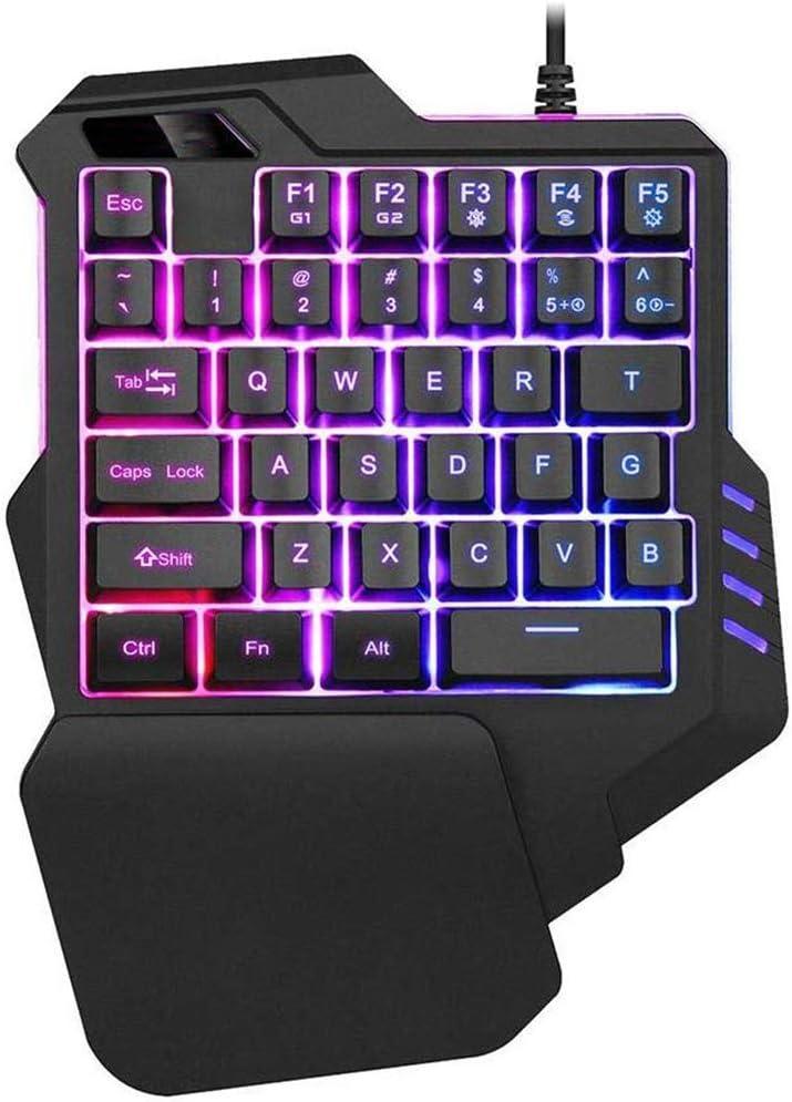 Computer Desktop PC Mac Gamer YCKZZR One-Handed Gaming Keyboard Ergonomic Game Controller RGB LED Backlit 35 Keys Half Keyboard Multimedia Function Key Mini Portable for PUBG LOL Wow DOTA2