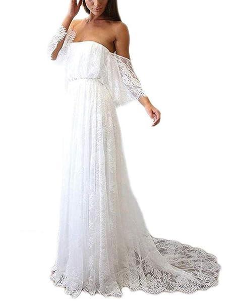 JAEDEN Vestidos de Novia Largo Vestido de Boda Sin Tirantes Mujer Encaje con Tren: Amazon.es: Ropa y accesorios