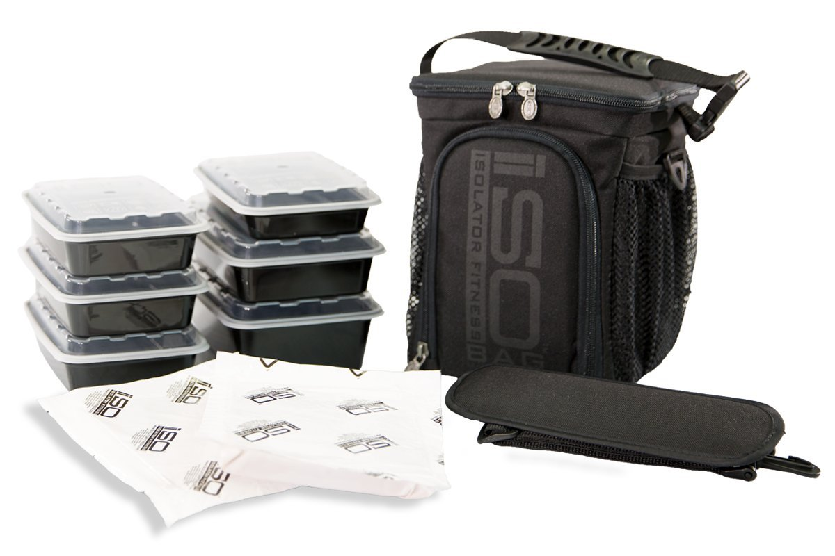 Isolator Fitness 3 Meal ISOCUBE Meal Prep Management Insulated Lunch Bag Cooler with 6 Stackable Meal Prep Containers, 2 ISOBRICKS, and Shoulder Strap - MADE IN USA (Blackout)