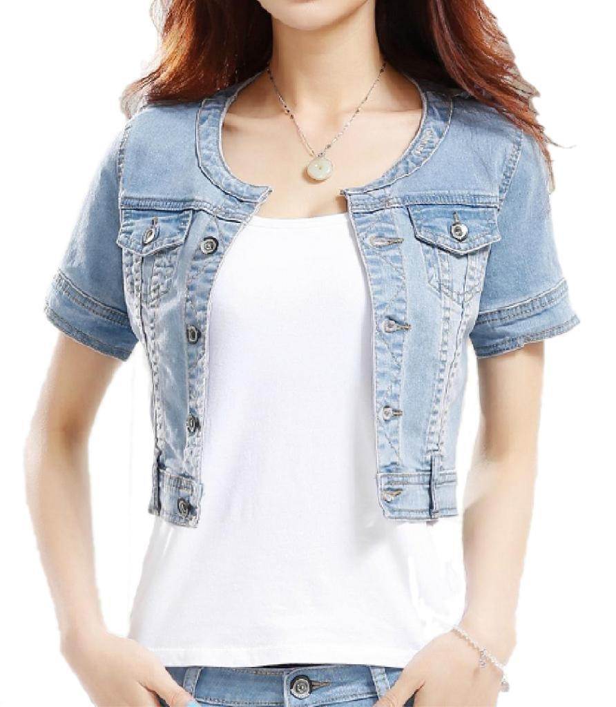 Fundu Women's Sweet Summer Cool Light Blue Denim Crew-neck Short Sleeve Top Jacket US 8