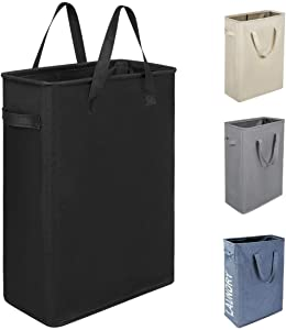 Chrislley 45L Slim Laundry Hamper Collapsible Laundry Basket Tall Thin Laundry Hamper Small Clothes Hamper with Handles Narrow Hampers for Laundry (Slim 21 Inches, Black)