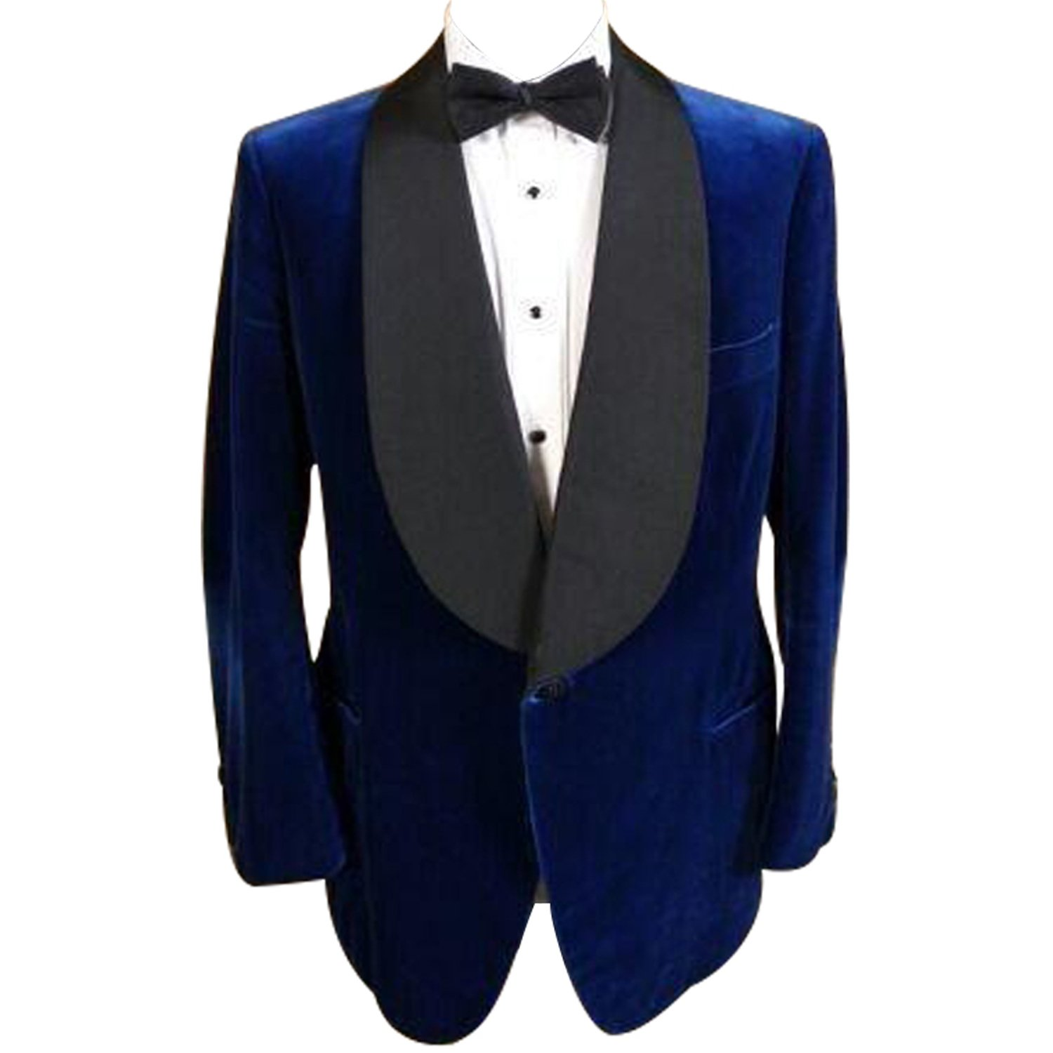 HBDesign Mens 1 Piece 1 Button Shawl Lapel Slim Fit Royal Blue Suit Jacket
