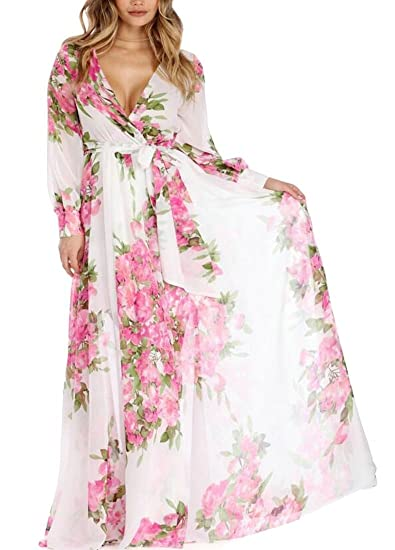 9608d228df8 Beloved Womens Boho Maxi Dresses Chiffon Floral Print Long Sleeve Beach  Dresses Wrap V Neck Dresses at Amazon Women s Clothing store