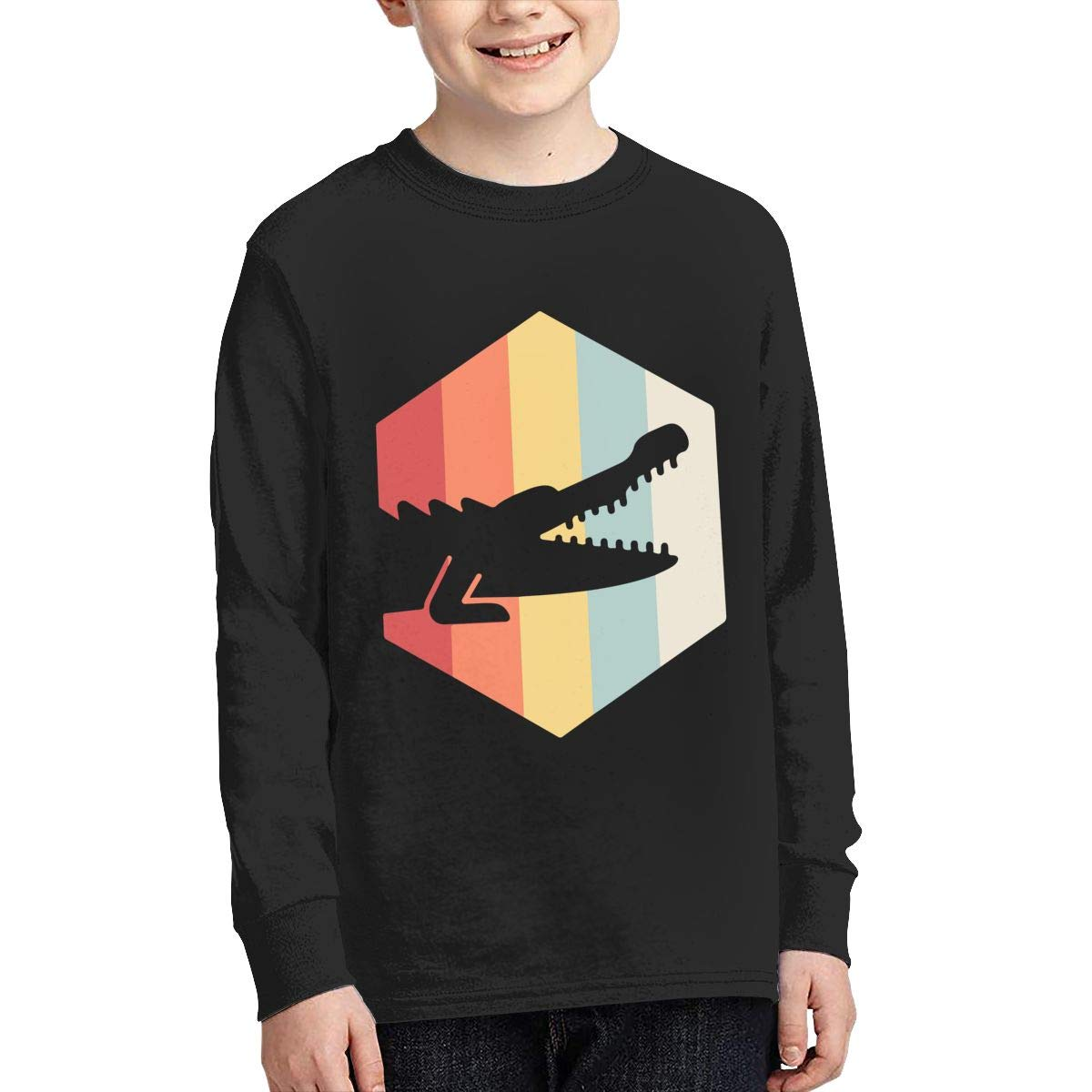 Teenagers Teen Girls Retro 70s Alligator Printed Long Sleeve 100/% Cotton T Shirts