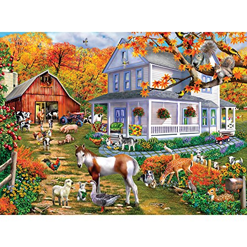 Bits and Pieces - 300 Large Piece Jigsaw Puzzle for Adults - Country Greetings - 300 pc Animals, Fall on the Farm Jigsaw by Artist Mary Thompson