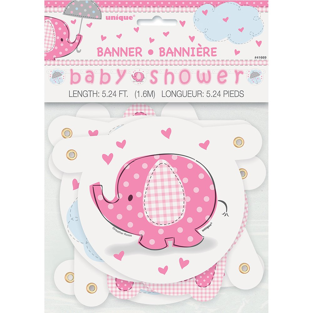 Amazon.com: 5.24ft Pink Elephant Girl Baby Shower Banner: Kitchen ...