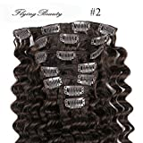 Curly Brown Clip in Hair Extensions 100% Remy Human Hair Deep Curl Deep Wave Clip in Hair Extension 18 Inches(45cm) 70g 7pcs/set, Color #2 Dark Brown