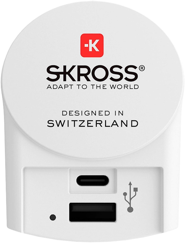 Netzadapter Skross Europa auf USB-Ausgang und USB-C wei/ß
