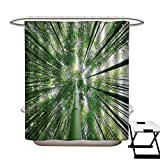 zen rain oil - BlountDecor Bamboo Shower Curtains with Shower Hooks Tropical Rain Forest Tall Bamboo Trees in Grove Exotic Asian Style Nature Zen Theme Image Fabric Bathroom Set with Hooks W54 x L78 Green