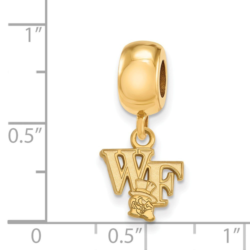 10mm x 22mm Jewel Tie 925 Sterling Silver with Gold-Toned Wake Forest University Extra Small Dangle Bead Charm Very Small Pendant Charm