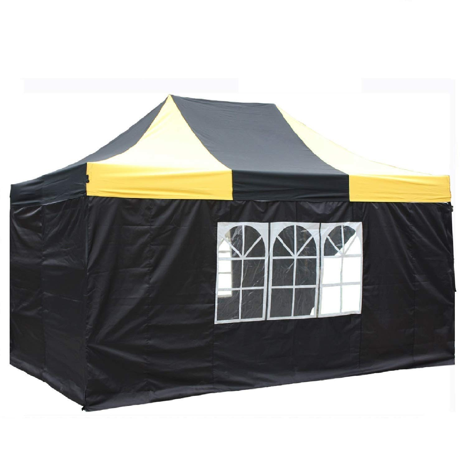 DELTA Canopies 10'x15' Ez Pop up Canopy Party Tent Instant Gazebos 100% Waterproof Top with 4 Removable Sides Black/Yellow - E Model 141[並行輸入]   B00J8772LQ