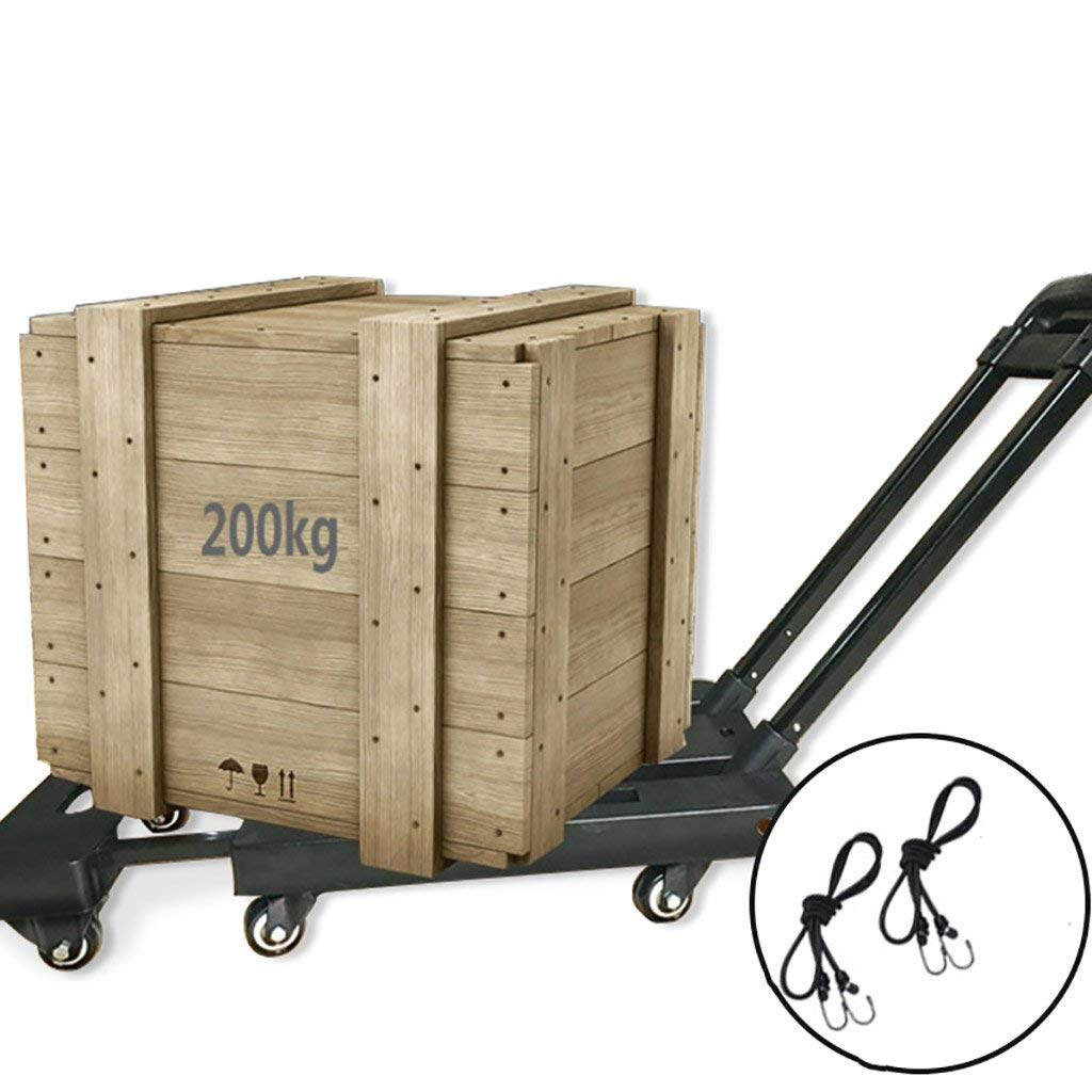 Zehaer Portable Trolley, Trolley Shopping cart Luggage cart Folding Load 200kg Multifunctional Large 6 Wheels 2 Color Options (Color : D) (Color : A)
